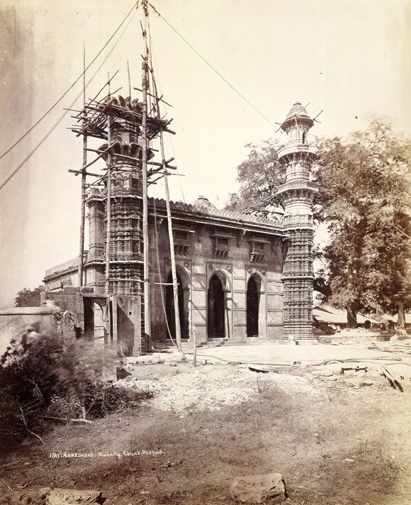 Muhafiz Khan's Mosque, under repair, Ahmadabad